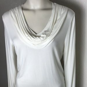 Rafaella Women's Cream Cowl neck Top long sleeves